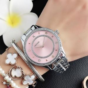 El diseño cristalino relojes de las mujeres de moda banda de acero M niña MICHAEL Metal estilo de pulsera de cuarzo M92