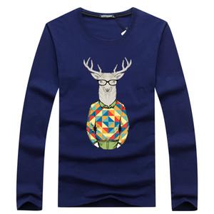 men's T-shirt Long Sleeve O neck 2019 wholesale deer T Shirts For Men Brand Letter Top Paris male Autumn Spring XS-4XL
