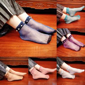 Art und Weise Frauen-Socken-reizvolle Dame Kristallspitze Glas Silk Perlen-Socken Ineinander greifen dünner transparenter Sommer Fits
