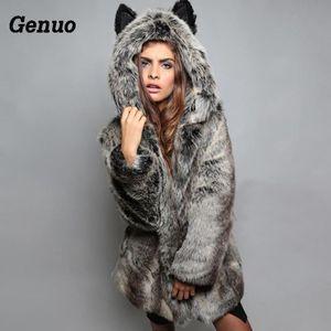 Genuo Faux Pelzmantel Winter Frauen Mit Kapuze Pelzmantel Weibliche Jacke casacas para mujer Lässige Langarm Warm Parka Outwear