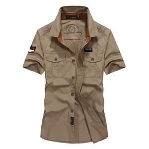 Мужская рубашка Military коротких рукавов открытого бомбардировщик хлопковые рубашки вышитая повязка двойной Кармана одежда EU Размер M-3XL
