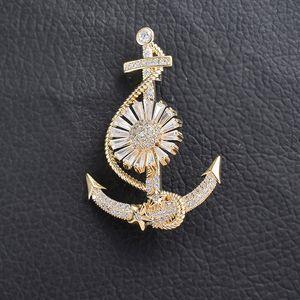 Nuovo spilla creative designer di moda di ancoraggio accessori navigatore premium zircone diamante spilla