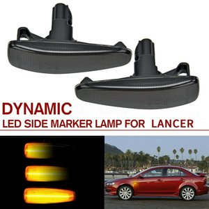 Smoked Lens Amber Full LED Dynamic Front Side Marker Lights for Mitsubishi Lancer Evo X Mirage Outlander Sport 2011-2020