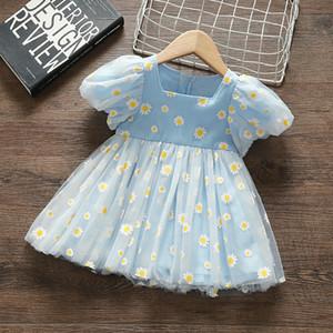 baby girls dresses lantern sleeve lace flowers embroidery kids clothing princess wedding birthday baptism children wear 0-5Y