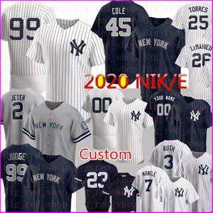 Personalizado 2020 NKE Baseball 99 Aaron Juiz Derek Jeter 45 Gerrit Cole Jersey Babe Ruth Mantle Rivera Gleyber Torres