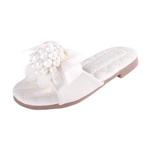 Sandales Toe talon plat cuirette Peep Girl Flats fille fleur Chaussures avec perle d'imitation satin fleur 203A-1