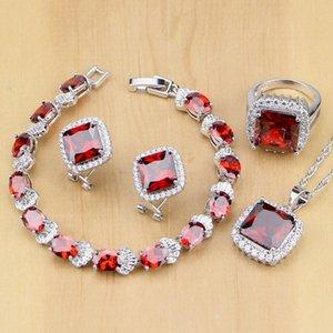 Argent 925 ensembles de bijoux Rouge Zircon Blanc CZ Parures décorations de mariage pour les femmes Boucles d'oreilles / pendentif / Collier / Anneaux / Bracelet