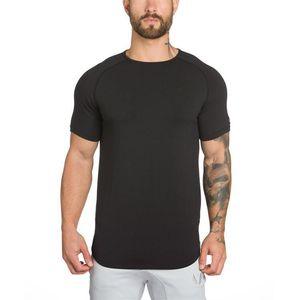 gyms clothing fitness t shirt men fashion extend hip hop summer short sleeve t-shirt cotton bodybuilding muscle guys Brand