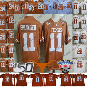 2019 Texas Longhorns #11 Sam Ehlinger 26 Keaontay Ingram Vince Young Earl Campbell Ricky Williams NCAA 150TH Sugar Bowl Orange White Jersey