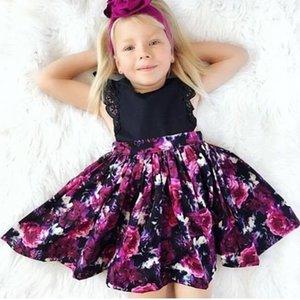 Nouveau-né bébé filles vêtements d'été petite soeur Body imprimé floral grande soeur robes Bowknot bandeau 2pc coton ensemble occasionnel