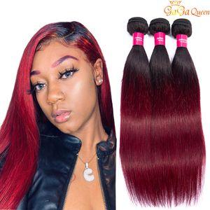 Pré-couleur Ombre humaine Bundles cheveux 1b 99j foncé Racine et Bourgogne droite Ombre du Pérou Cheveux Weave