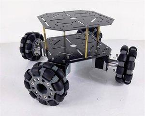 100mm Roue omnidirectionnelle en métal 4 roues motrices Smart Tank Car Kit châssis 1/2/3 couche 42 Stepper Motor DIY Heavy Load Robot Plate-forme