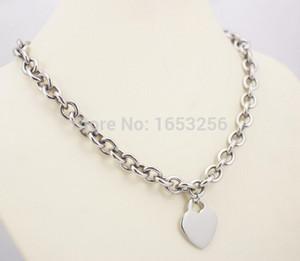 Dulce diseño lindo de plata de acero inoxidable llano corazón etiqueta encantos collar colgante 20 '' para la esposa. Novio regalos de vacaciones