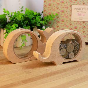 Animales de madera en forma de ahorro de monedas Hucha Caja de almacenamiento elefante Piggy regalo de Navidad para los niños de los niños del Banco