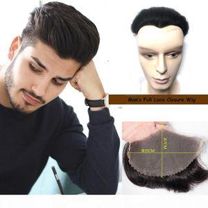 Cabeça de substituição Homens cabelo do ser humano Bloco de Encerramento peruca peruca cheia do laço 15 cm x Men Cabelo Humano 7cm de alta qualidade da peruca Toupee Hetero