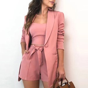 Autumn Three Piece Sets Women Sexy Slash Neck Office 3 Piece Set Top And Shorts Long Sleeve Elegant Casual Suits Blazer Y200701