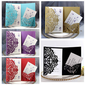 Elegant Wedding Invitation Cards Full Set Laser Cut Hollow Pocket Greeting Cards For Engagement Birthday Party Wedding Supplies DBC BH3683