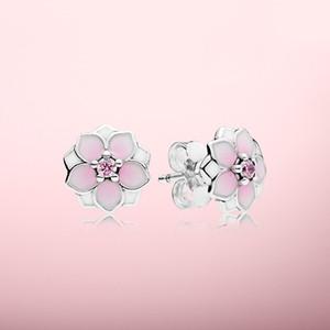 Pink Magnolia Ohrringe Schöne Frauen Schmuck mit ursprünglichem Kasten für Pandora 925 Sterlingsilber Blumenohrstecker-Sets