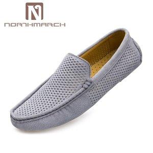 NORTHMARCH Homens Loafers calçados casuais Moda Couro respirável mocassim Condução Shoes Men Mocassins oco Out Flats