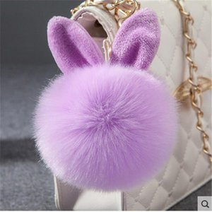 cute keychain Fluffy Bunny Toys Ear Keychain Rabbit Key Chain Fur Woman Bag Charms Keyring Pom Pom Car Pendant Pompom Holder Jewelry
