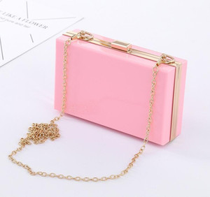 1pc Transparent Acrylic bag bling Chain Box Bag clear crossbody bags clutch for women evening party