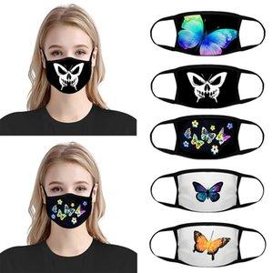 20pcs concepteur masque facial mode femmes réutilisables masques noir dessin animé masques de coton imprimé papillons masques rouges net respirant