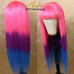 AIVA piena del merletto dei capelli umani di colore rosa Ombre Viola Blu Ombrato parrucche con capelli del bambino serica trasparente colorata piena di Remy Glueless Parrucche