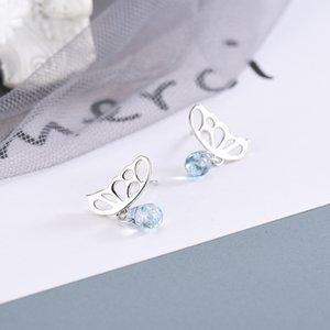 نسخة S925 فضة هان مع الماس الأزرق كريستال المخرم الأقراط فراشة الفن CUTE الأقراط جديدة صغيرة بديلا الشعر