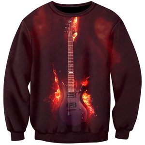 Cloudstyle 2019 The Fire Guitar Sweatshirts Men 3D Print Men Hoodies Musical Instrument Bass Sweatshirts Fast Delivery S-5XL