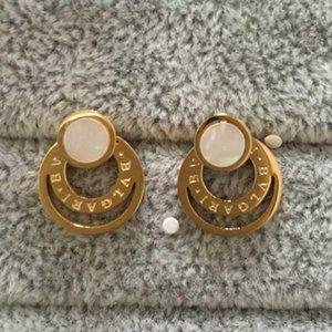Top Quality Design Letter Wedding Jewelry Luxurious Women Earrings Black White Titanium Steel Earrings Gold Plated Stud Earring Wholesale