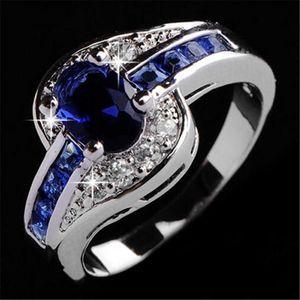 Pretty Kadınlar Için Alyans lüks takı Güzel mavi kristal elmas yüzük Nişan Düğün Taş Yüzükler