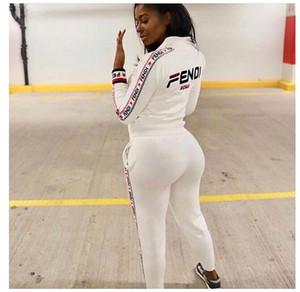 Eşofman kadın mektubu baskı Iki parçalı Set Kadın Sonbahar Kış Fermuar Rüzgarlık Ceket Uzun Kollu Çizgili Pantolon Spor Kıyafet Suits