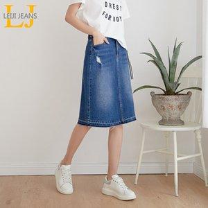 Leijijeans Yeni Varış Artı Boyutu Denim Etekler Moda Casual Kadın Yıkama Etekler 4xl 5xl 6xl Tüm Mevsim Sıkı Kadınlar Etekler Y19072001
