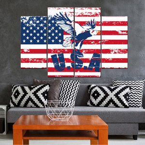 Pinturas sin marco Eagle of the United States 4pcs (sin marco) Printd sobre Lienzo Arts Modern Home