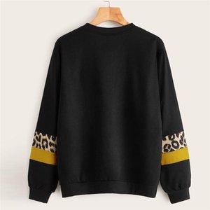 Farbe lose weibliche Kleidung der Frauen Designer-Leopard-Druck Hoodies Patchwork-Langarmshirt Damen-Sweatshirts Art und Weise Contrast