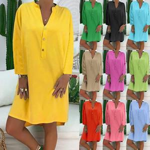 Fashion Women Summer Long Sleeve Dress Casual Solid Color Plus Size Loose Cotton Linen Knee Length dress vestire Jurk