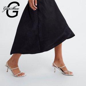 Yaz daraltın Bant Yüksek topuk Vintage Kare Ayak Topuk Sandalet Özlü Bayanlar Shes İçin Parti CJ191116 İçin GENSHUO Beyaz Yüksek Topuklar Sandalet