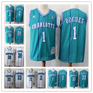 RetroCharlotteHornetsBasketbol Jersey 1 Tyrone Muggsy Bogues 30 Dell Curry 2 Larry Johnson Vintage Formalar