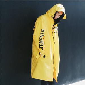 Hip Hop hommes Vetement homme Colloid long manteau coupe-vent surdimensionné pluie imperméable Homme Manteaux Hoodie Veste en vrac