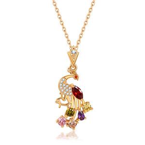 Envío gratis oro colgante collar flor joyería para mujer moda colores Cubic Zirconia Peacock collar joyería