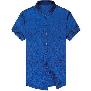 2019 brand casual summer bright short sleeve slim fit men shirt streetwear social dress shirts mens fashions jersey 50575