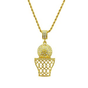 Горячая мода баскетбол обруч хип-хоп ожерелье хип-хоп Шарм ожерелье для мужчин Кристалл rhinestone кулон ювелирные изделия завод Оптовая