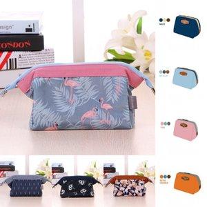 여자 지퍼 플라밍고와 솔리드 컬러 키 카드 이어폰 화장품 가방 대형 스토리지 만화 여행 화장품 가방