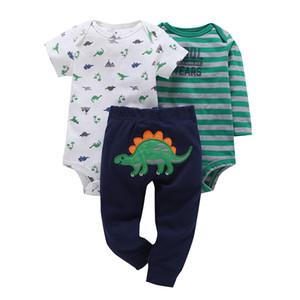 Cartoon Dinosaurier Print Romper + pants Sommer Outfit Für Neugeborene Jungen Mädchen Kleidung Baumwolle Neugeborenen Anzug Babys Kleidung Set J190427