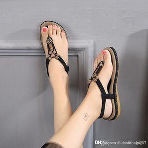 women's sandals Flip Flops shape med womens shoes adornment with beading woman Wedge sandals Flip Flops des chaussures