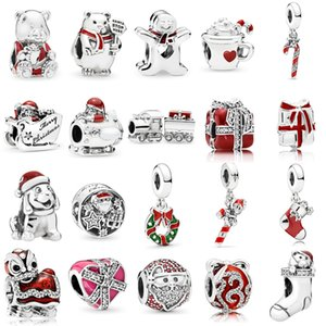 925 Sterling Silver Multi Estilo Encantos de Papai Noel Trem de Natal Charme Cacau Candy Cane Bead Fit Pandora Pulseiras Originais Jóias DIY