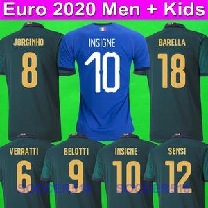 EURO 2020 Italy JORGINHO INSIGNE Barella 2020 camisas terceiros futebol verde Bonucci BERNARDESCHI BELOTTI IMMOBILE SENSI jérseis crianças kits de futebol conjuntos Barella
