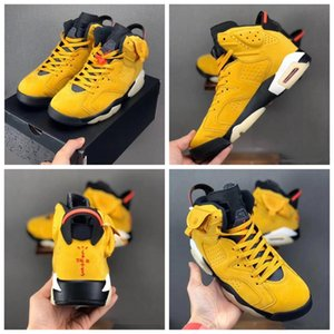 cheap High Quality Travis Scott 6 VI Designer Basketball Shoes Yellow Black Cactus Jack Fashion Sports Sneakers Ship