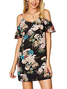YOINS Dress Случайный цветочный принт Flouncy с открытыми плечами и сексуальным спагетти ремешком слинг туника