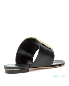 pirinç metal toka detay tek yükseklik 9 cm Sıcak satış-Siyah Deri 4g Düz Sandalet terlik
